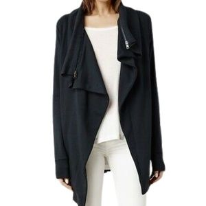 All Saints Dahlia Drape Sweatshirt Black Small